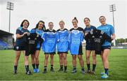 16 August 2017; AIG were in Old Wesley Rugby Football Club in Donnybrook today to facilitate a meet and greet with representatives from the New Zealand Black Ferns, Dublin Ladies Football team and Dublin Camogie team. The girls participated in a cross skills challenge involving gaelic football, camogie, and rugby. AIG are Official Insurance Partner of the New Zealand Black Ferns, and local sponsors to the Dublin Ladies Football team and Dublin Camogie team. Pictured, from left, are Dublin Camogie players Claire Donnelly and Aisling Carolan, New Zealand Black Ferns Selica Winiata, Hazel Tubic, and Theresa Fitzpatrick, and Dublin Footballers Molly Lamb and Sinéad Goldrick after exchanging jerseys. Photo by Cody Glenn/Sportsfile