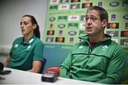 16 August 2017; Ireland's Hannah Tyrrell and head coach Tom Tierney during the Ireland Women's Rugby press conference at UCD in Dublin. Photo by David Maher/Sportsfile