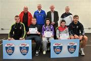 11 May 2012; Gary Lynn, left, Rachel Kearns and Enda Flanagan, from Crossmolina, Co. Mayo, who received their Kellogs Cúl Camps certificates during a Mayo GAA Open Day 2012 pictured with Mayo players Danny Kirby, left, and Aidan O'Shea, right, and back row, from left, Paddy McNicholas, Chairman of Mayo County Board, Eugene Lavin, Mayo Gaels Proomotion Officer, Hugh Rudden, Mayo Coaching Officer, and Billly McNicholas, Mayo Games Officer. Elverys MacHale Park, Castlebar, Co Mayo. Picture credit: Barry Cregg / SPORTSFILE