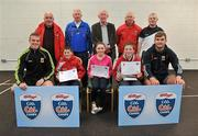 11 May 2012; Cillian Redmond, left, Sive Larkin and Finian Bourke, from Ballintubber, Co. Mayo, who received their Kellogs Cúl Camps certificates during a Mayo GAA Open Day 2012 pictured with Mayo players Danny Kirby, left, and Aidan O'Shea, right, and back row, from left, Paddy McNicholas, Chairman of Mayo County Board, Eugene Lavin, Mayo Gaels Promotion Officer, Hugh Rudden, Mayo Coaching Officer, Mike Fitzmaurice, Mayo Coach, and Billly McNicholas, Mayo Games Officer. Elverys MacHale Park, Castlebar, Co Mayo. Picture credit: Barry Cregg / SPORTSFILE