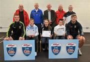 11 May 2012; John Gallagher, left, Emer Hynes and James Jennings, from Claremorris, Co. Mayo, who received their Kellogs Cúl Camps certificates during a Mayo GAA Open Day 2012 pictured with Mayo players Danny Kirby, left, and Aidan O'Shea, right, and back row, from left, Paddy McNicholas, Chairman of Mayo County Board, Eugene Lavin, Mayo Gaels Promotion Officer, Hugh Rudden, Mayo Coaching Officer, Mike Fitzmaurice, Mayo Coach, and Billly McNicholas, Mayo Games Officer. Elverys MacHale Park, Castlebar, Co Mayo. Picture credit: Barry Cregg / SPORTSFILE