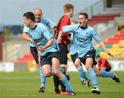 13 May 2012; Danny Long, Avondale FC, celebrates with team-mates Mark Horgan and Graham McCarthy, right, after scoring the winning goal. FAI Umbro Intermediate Cup, Cherry Orchard FC v Avondale FC, Tallaght Stadium, Tallaght, Co. Dublin. Picture credit: Tomas Greally / SPORTSFILE