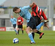 13 May 2012; Mark O'Sullivan, Avondale FC, in action against Lee Colins, Cherry Orchard FC. FAI Umbro Intermediate Cup, Cherry Orchard FC v Avondale FC, Tallaght Stadium, Tallaght, Co. Dublin. Picture credit: Tomas Greally / SPORTSFILE