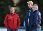 18 August 2017; Gloucester Director of Rugby David Humphreys, left, speaks with Leinster Forwards Coach Simon Easterby, centre, and Leinster head coach Leo Cullen ahead of the Bank of Ireland Pre-season Friendly match between Leinster and Gloucester at St Mary's RFC in Dublin. Photo by Matt Browne/Sportsfile