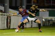 18 August 2017; Sean Russell of Drogheda United in action against Hugh Douglas of Bray Wanderers during the SSE Airtricity League Premier Division match between Bray Wanderers and Drogheda United at Carlisle Grounds, in Bray, Co. Wicklow. Photo by Piaras Ó Mídheach/Sportsfile