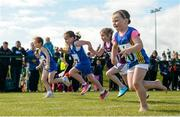 19 August 2017; Izzy Masterson from Edgeworthstown, Co Longford, competes barefoot in the U8 Girls 60 Metres race during day 1 of the Aldi Community Games August Festival 2017 at the National Sports Campus in Dublin. Photo by Cody Glenn/Sportsfile