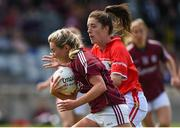 19 August 2017; Megan Glynn of Galway in action against Ciara O'Sullivan of Cork during the TG4 Ladies Football All-Ireland Senior Championship Quarter-Final match between Cork and Galway at Cusack Park in Westmeath. Photo by Matt Browne/Sportsfile