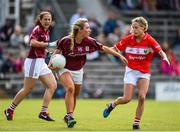 19 August 2017; Megan Glynn of Galway in action against Orla Finn of Cork during the TG4 Ladies Football All-Ireland Senior Championship Quarter-Final match between Cork and Galway at Cusack Park in Westmeath. Photo by Matt Browne/Sportsfile