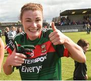 19 August 2017; Aileen Gilroy of Mayo celebrates after the TG4 Ladies Football All-Ireland Senior Championship Quarter-Final match between Donegal and Mayo at Cusack Park in Westmeath. Photo by Matt Browne/Sportsfile