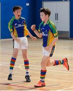 19 August 2017; Eoghan Harton, right, from Erne Valley, Co Cavan, celebrates scoring the winning goal with team-mate Daragh McConnan against Kenagh, Co Longford, during their U13 Boys Indoor Soccer match, during day 1 of the Aldi Community Games August Festival 2017 at the National Sports Campus in Dublin. Photo by Cody Glenn/Sportsfile