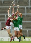 19 August 2017; Conor Whelan, centre, and Dan Nevin of Galway in action against Robbie Hanley and Thomas Grimes of Limerick, right, during the Bord Gáis Energy GAA Hurling All-Ireland U21 Championship Semi-Final match between Galway and Limerick at Semple Stadium in Tipperary. Photo by Piaras Ó Mídheach/Sportsfile