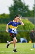 19 August 2017; Jack Sweeney of Newtowncashel, Co Longford, competing in the Boys U14 and O12 Javelin event during day 1 of the Aldi Community Games August Festival 2017 at the National Sports Campus in Dublin. Photo by Sam Barnes/Sportsfile