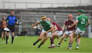 19 August 2017; Thomas Grimes of Limerick in action against Conor Whelan of Galway during the Bord Gáis Energy GAA Hurling All-Ireland U21 Championship Semi-Final match between Galway and Limerick at Semple Stadium in Tipperary. Photo by Daire Brennan/Sportsfile