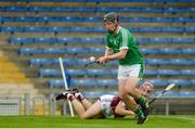 19 August 2017; Peter Casey of Limerick in action against Declan Cronin of Galway during the Bord Gáis Energy GAA Hurling All-Ireland U21 Championship Semi-Final match between Galway and Limerick at Semple Stadium in Tipperary. Photo by Piaras Ó Mídheach/Sportsfile