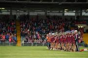 19 August 2017; The Galway squad stand together for a minute's silence in memory of Tony Keady of Galway and Richard Lanigan of Kilkenny ahead of the All-Ireland Senior Camogie Championship Semi-Final between Cork and Galway at the Gaelic Grounds in Limerick. Photo by Diarmuid Greene/Sportsfile