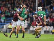 19 August 2017; Peter Casey of Limerick in action against Ciarán O'Connor of Galway during the Bord Gáis Energy GAA Hurling All-Ireland U21 Championship Semi-Final match between Galway and Limerick at Semple Stadium in Tipperary. Photo by Daire Brennan/Sportsfile