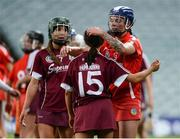 19 August 2017; Aoife Donohue, right, and Heather Cooney of Galway are consoled by Ashling Thompson of Cork during the All-Ireland Senior Camogie Championship Semi-Final between Cork and Galway at the Gaelic Grounds in Limerick. Photo by Diarmuid Greene/Sportsfile