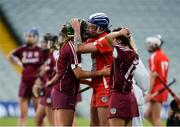 19 August 2017; Heather Cooney, left, and Aoife Donohue of Galway are consoled by Ashling Thompson of Cork after the All-Ireland Senior Camogie Championship Semi-Final between Cork and Galway at the Gaelic Grounds in Limerick. Photo by Diarmuid Greene/Sportsfile