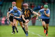 19 August 2017; Ann Dalton of Kilkenny in action against Aisling Maher, left, and Emma Flanagan of Dublin during the All-Ireland Senior Camogie Championship Semi-Final between Dublin and Kilkenny at the Gaelic Grounds in Limerick. Photo by Diarmuid Greene/Sportsfile