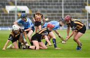 19 August 2017; Ann Dalton of Kilkenny, comes away with possession supported by team-mates Davina Tobin, left, and Grace Walsh in action against Siobhan Kehoe, left, and Miriam Twomey of Dublin during the All-Ireland Senior Camogie Championship Semi-Final between Dublin and Kilkenny at the Gaelic Grounds in Limerick. Photo by Diarmuid Greene/Sportsfile