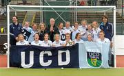 13 May 2012; UCD captain Laura Wilson and team-mates celebrate with the cup. Electric Ireland Women's Irish Senior Cup Final, UCD v Loreto, National Hockey Stadium, UCD, Belfield, Dublin. Picture credit: Stephen McCarthy / SPORTSFILE