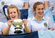 13 May 2012; UCD captain Laura Wilson and team-mate Dora Gorman, right, celebrate their side's victory. Electric Ireland Women's Irish Senior Cup Final, UCD v Loreto, National Hockey Stadium, UCD, Belfield, Dublin. Picture credit: Stephen McCarthy / SPORTSFILE