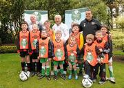 18 May 2012; Republic of Ireland manager Giovanni Trapattoni and assistant manager Marco Tardelli, right, with Jackie Cahill, Chairman of The National Dairy Council, left, and Football For All players, from left, Paul McManus, Malahide United, Eoin Dowling, Malahide United, Cathal McKiernan, Cabinteely, Scott Mates, Lourdes Celtic, Adam Morgan, Dunboyne AFC, Adam Dowling, Dunboyne AFC, Aaron Russell, Lourdes Celtic, Matthew Dolan, Sacred Heart AFC, Jack Sheridan, Sacred Heart AFC, Oisin McNevin, Cabinteely AFC, at the official launch of the new sponsorship by the National Dairy Council of the FAI's Football For All programme. Portmarnock Golf Links Hotel, Portmarnock, Co. Dublin. Picture credit: Stephen McCarthy / SPORTSFILE