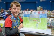 20 August 2017; Ryan Casey, from Tarmonbarry-Scramogue, Co. Roscommon, holds up the drawing he created in the U10 Art event during day 2 of the Aldi Community Games August Festival 2017 at the National Sports Campus in Dublin. Photo by Cody Glenn/Sportsfile