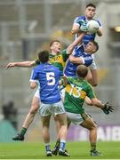 20 August 2017; Rónán Patterson of Cavan, top, supported by team-mates Philip Rogers and Philip Nulty, 5, in action against Barry Mahony and Fiáchra Clifford, 13, of Kerry during the Electric Ireland GAA Football All-Ireland Minor Championship Semi-Final match between Cavan and Kerry at Croke Park in Dublin. Photo by Piaras Ó Mídheach/Sportsfile