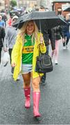 20 August 2017; Kerry supporter Sharon Lynch, from Castleisland, makes her way to Croke Park prior to the GAA Football All-Ireland Senior Championship Semi-Final match between Kerry and Mayo at Croke Park in Dublin. Photo by Stephen McCarthy/Sportsfile