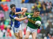20 August 2017; Diarmuid O'Connor of Kerry in action against Oisin Kiernan of Cavan during the Electric Ireland GAA Football All-Ireland Minor Championship Semi-Final match between Cavan and Kerry at Croke Park in Dublin. Photo by Ray McManus/Sportsfile