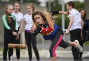20 August 2017; Danielle Lambe, from Hacketstown, Co Carlow, competes in the U14 Mixed Skittles event during day 2 of the Aldi Community Games August Festival 2017 at the National Sports Campus in Dublin. Photo by Cody Glenn/Sportsfile
