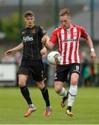 20 August 2017; Ronan Curtis of Derry City  in action against Sean Gannon of Dundalk  during the SSE Airtricity League Premier Division match between Derry City and Dundalk at Maginn Park in Buncrana, Co Donegal. Photo by Oliver McVeigh/Sportsfile