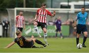 20 August 2017; Aaron McEneff of Derry City in action against John Mountney of Dundalk during the SSE Airtricity League Premier Division match between Derry City and Dundalk at Maginn Park in Buncrana, Co Donegal. Photo by Oliver McVeigh/Sportsfile