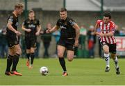 20 August 2017; John Mountney of Dundalk  in action against Barry McNamee of Derry City  during the SSE Airtricity League Premier Division match between Derry City and Dundalk at Maginn Park in Buncrana, Co Donegal. Photo by Oliver McVeigh/Sportsfile