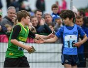 20 August 2017; John Carmody of Listowel, Co Kerry, left, and Des O'Neill of Mid-Sutton, Co Dublin, shake hands following the Boys U10 and O8 100m final during day 2 of the Aldi Community Games August Festival 2017 at the National Sports Campus in Dublin. Photo by Sam Barnes/Sportsfile