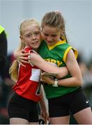 20 August 2017; Grainne Moran of St Josephs, Co Louth, left, and Saoirse Dillon of Duagh Lyre, Co Kerry, embrace following the Girls U10 and O8 100m Final during day 2 of the Aldi Community Games August Festival 2017 at the National Sports Campus in Dublin. Photo by Sam Barnes/Sportsfile