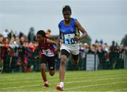 20 August 2017; Funmi Talabi of Edgeworthstown, Co Longford, celebrates after winning the Girls U12 and O12 100m final during day 2 of the Aldi Community Games August Festival 2017 at the National Sports Campus in Dublin. Photo by Sam Barnes/Sportsfile
