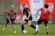 20 August 2017; John Mountney of Dundalk in action against Nicky Low and Barry McNamee of Derry City  during the SSE Airtricity League Premier Division match between Derry City and Dundalk at Maginn Park in Buncrana, Co Donegal. Photo by Oliver McVeigh/Sportsfile