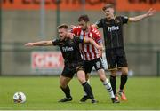 20 August 2017; Conor Clifford of Dundalk in action against Josef Dolny of Derry City during the SSE Airtricity League Premier Division match between Derry City and Dundalk at Maginn Park in Buncrana, Co Donegal. Photo by Oliver McVeigh/Sportsfile