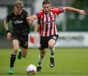 20 August 2017; Steven Kinsella of Dundalk in action against Josef Dolny of Derry City during the SSE Airtricity League Premier Division match between Derry City and Dundalk at Maginn Park in Buncrana, Co Donegal. Photo by Oliver McVeigh/Sportsfile
