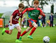 20 August 2017; Steven Jennings of Clarinbridge, representing Galway, in action against Edmund Lauhoff of St Pats, representing Kilkenny, during the Boys U12 and O8 Soccer event during day 2 of the Aldi Community Games August Festival 2017 at the National Sports Campus in Dublin. Photo by Sam Barnes/Sportsfile