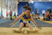 20 August 2017; Sarah McPhillips of AMG, Co Longford, competing in the Girls U14 and O12 Long Jump event during day 2 of the Aldi Community Games August Festival 2017 at the National Sports Campus in Dublin. Photo by Sam Barnes/Sportsfile