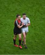 20 August 2017; Andy Moran of Mayo and Paul Geaney of Kerry shake hands after the GAA Football All-Ireland Senior Championship Semi-Final match between Kerry and Mayo at Croke Park in Dublin. Photo by Daire Brennan/Sportsfile