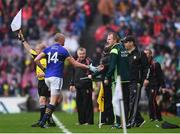 20 August 2017; Kieran Donaghy of Kerry shakes hands with Kerry manager Eamonn Fitzmaurice during the GAA Football All-Ireland Senior Championship Semi-Final match between Kerry and Mayo at Croke Park in Dublin. Photo by Stephen McCarthy/Sportsfile