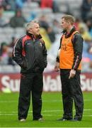20 August 2017; Mayo manager Stephen Rochford, left, and selector Tony McEntee before the GAA Football All-Ireland Senior Championship Semi-Final match between Kerry and Mayo at Croke Park in Dublin. Photo by Piaras Ó Mídheach/Sportsfile