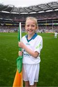 20 August 2017; eir GAA flagbearer Isabelle Anslow at the All-Ireland Senior Football Semi-final between Mayo and Kerry in Croke Park, Dublin. Photo by Stephen McCarthy/Sportsfile