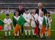 20 August 2017; eir GAA flagbearers, from left, Jonah Flanagan, Conor Mayock, Liam Palmer, Jack Nevin, Isabelle Anslow  and Grainne Daughton pictured with eir GAA ambassadors Tomás Ó Sé and David Brady at the All-Ireland Senior Football Semi-final between Mayo and Kerry in Croke Park, Dublin. Photo by Stephen McCarthy/Sportsfile
