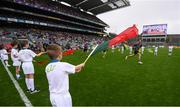 20 August 2017; eir GAA flagbearers at the All-Ireland Senior Football Semi-final between Mayo and Kerry in Croke Park, Dublin. Photo by Stephen McCarthy/Sportsfile