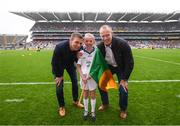 20 August 2017; eir GAA flagbearer Isabelle Anslow pictured with eir GAA ambassadors Tomás Ó Sé and David Brady at the All-Ireland Senior Football Semi-final between Mayo and Kerry in Croke Park, Dublin. Photo by Stephen McCarthy/Sportsfile